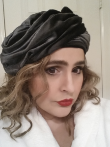 Vintage c.1960 Christian Dior Chapeau profile draped turban hat I wore on New Year's Eve. Pardon the fuzzy bathrobe. I paired it with a black H&M long sleeved circle skirt dress and a vintage silver vest.